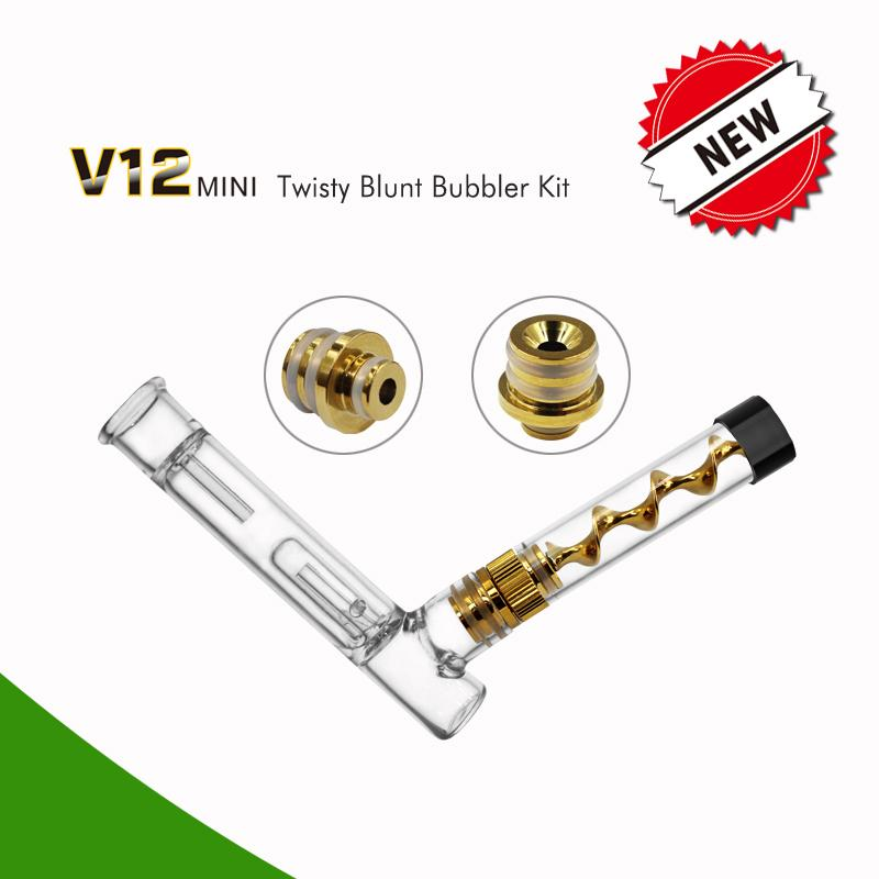 V12 Mini Twisty Blunt With Bubbler Kit Herbal Glass Pipe Vape Accessories